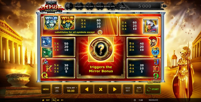Myth of Medusa Gold :: Paytable