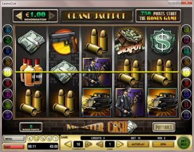 Casino Club featuring the Video Slots Mobster Cash with a maximum payout of $90,000