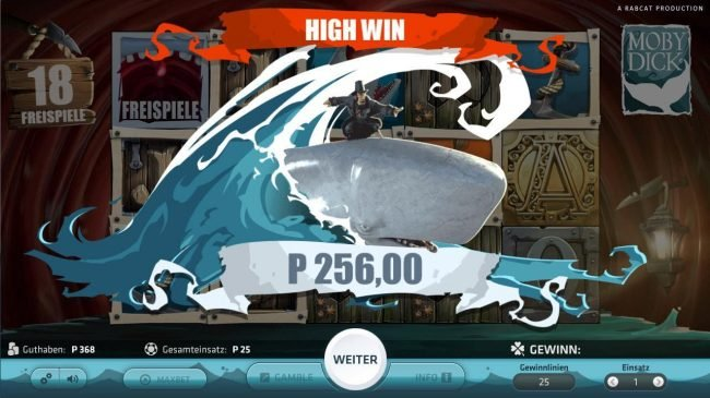 Casino-X featuring the Video Slots Moby Dick with a maximum payout of $250,000