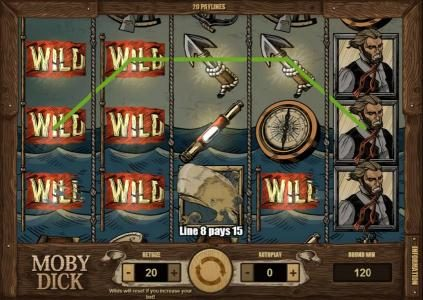 Moby Dick :: a 120 coin jackpot triggered by multiple winning paylines