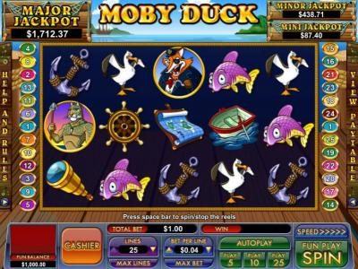 BuzzLuck featuring the Video Slots Moby Duck with a maximum payout of $10,000