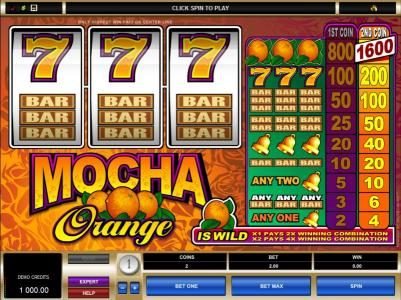 Play slots at Spin Palace: Spin Palace featuring the Video Slots Mocha Orange with a maximum payout of $16,000