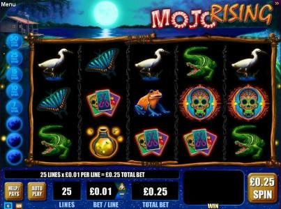 Play slots at Gala: Gala featuring the Video Slots Mojo Rising with a maximum payout of $3,750