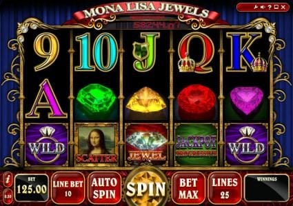 Play slots at Level Up: Level Up featuring the Video Slots Mona Lisa Jewels with a maximum payout of Jackpot