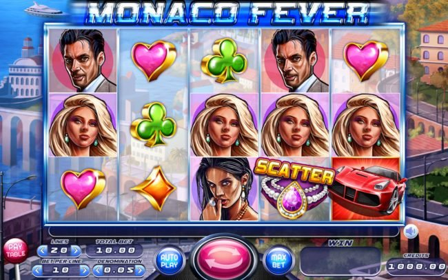 Play slots at Spintropolis: Spintropolis featuring the Video Slots Monaco Fever with a maximum payout of $12,500
