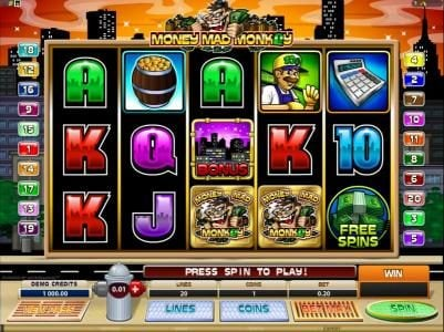 All Irish featuring the Video Slots Money Mad Monkey with a maximum payout of $10,000