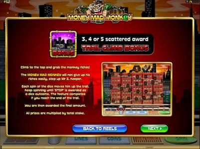 three or more bonus symbols award the trail climb bonus feature