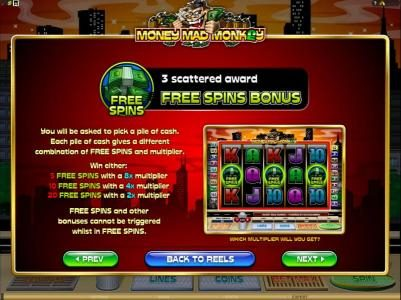 21 Dukes featuring the Video Slots Money Mad Monkey with a maximum payout of $10,000