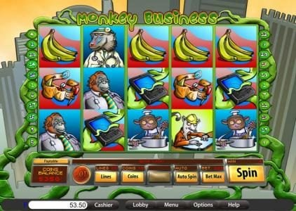 Villa Fortuna featuring the Video Slots Monkey Business with a maximum payout of $12,500