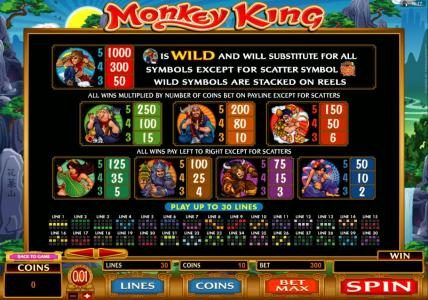 Golden Riviera featuring the Video Slots Monkey King with a maximum payout of $1,000