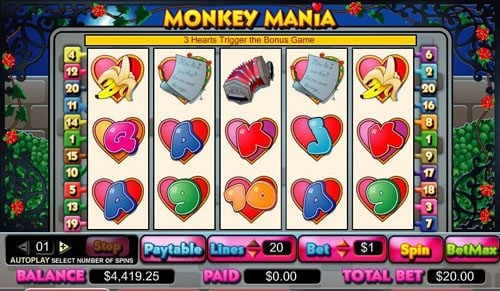 Play slots at Lucky Thrillz: Lucky Thrillz featuring the video-Slots Monkey Mania with a maximum payout of 5,000x