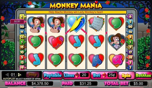 Royal Panda featuring the video-Slots Monkey Mania with a maximum payout of 5,000x