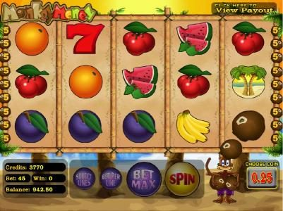 Gossip Slots featuring the Video Slots Monkey Money with a maximum payout of $25,000