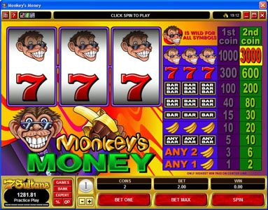 Next Casino featuring the video-Slots Monkey's Money with a maximum payout of $30,000