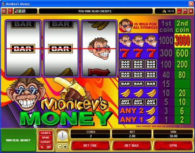 La Vida featuring the video-Slots Monkey's Money with a maximum payout of $30,000