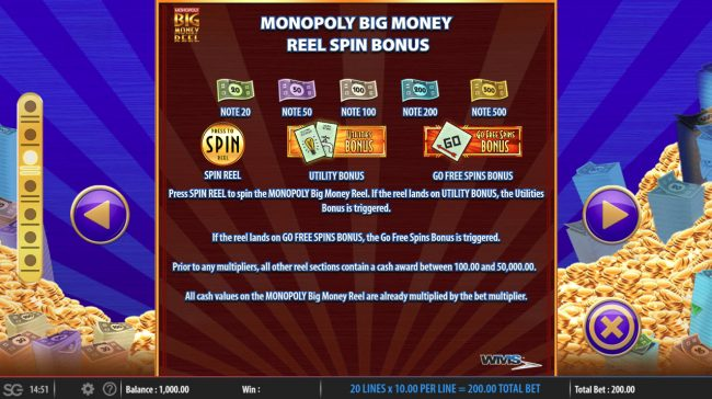 Monopoly Big Money Reel :: Feature Rules