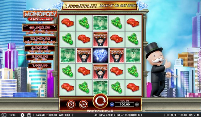 Play slots at CasinoCasino: CasinoCasino featuring the Video Slots Monopoly Millionaire with a maximum payout of $1,000,000