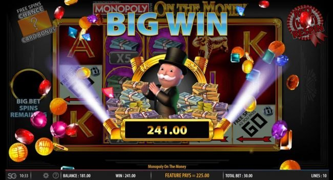 Yako Casino featuring the Video Slots Monopoly On the Money with a maximum payout of $250,000