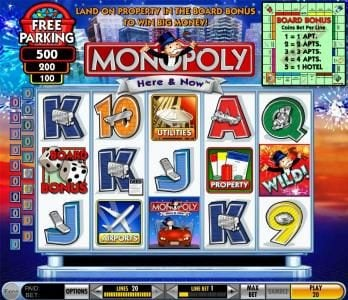 Reel Vegas featuring the Video Slots Monopoly - Here & Now with a maximum payout of $125,000