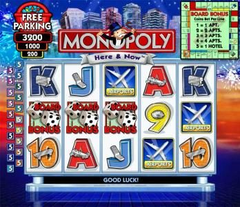 Casino Club featuring the Video Slots Monopoly - Here & Now with a maximum payout of $125,000