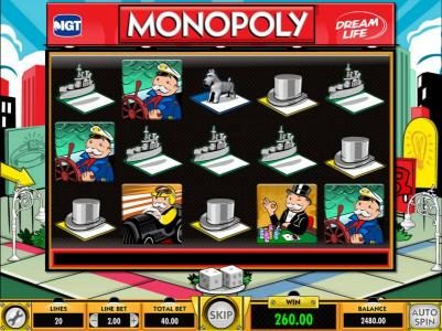 Mr Green featuring the Video Slots Monopoly Dream Life with a maximum payout of $25,000.00