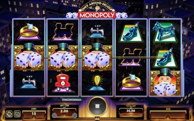 Monopoly Once Around Deluxe :: Three Uncle Pennybags holding a pair of dice on an active payline triggers the Once Around Deluxe bonus feature.