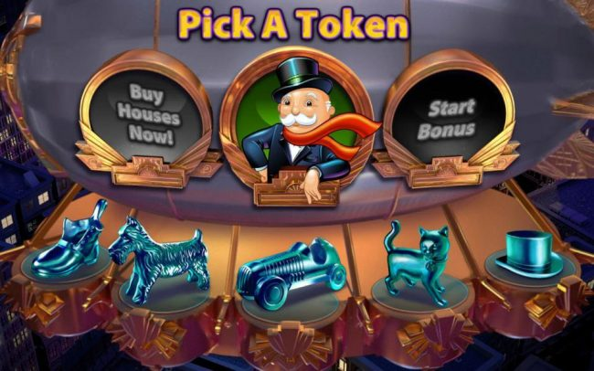 Monopoly Once Around Deluxe :: Pick a token to use during the Once Around Deluxe bonus feature. Click Buy Houses Now! to make side bets buy pruchasing house on the gameboard.