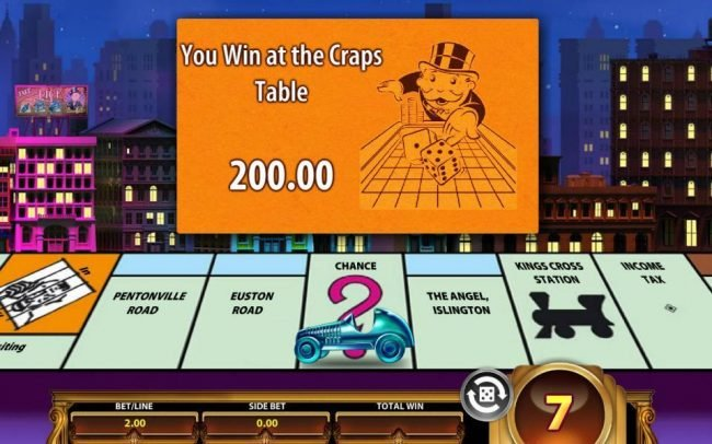 Monopoly Once Around Deluxe :: Landing on chance, you can draw a card. Here you win at the craps table 200.00.