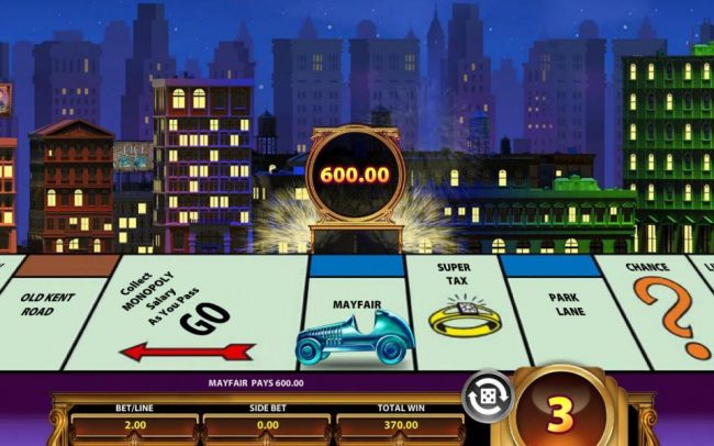 Monopoly Once Around Deluxe :: Landing on the Mayfair property awards a 600.00 big win.