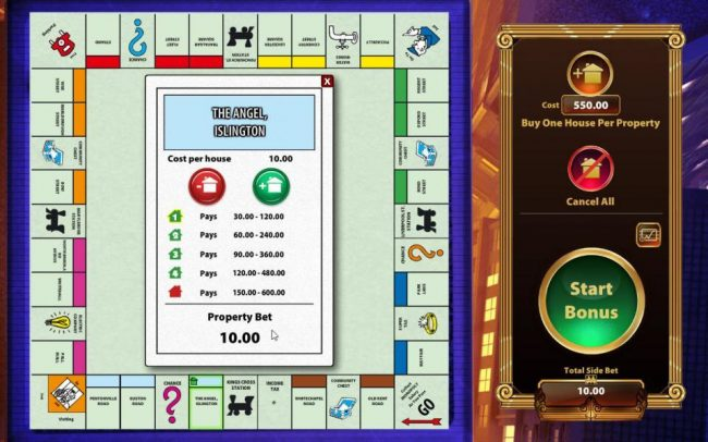 Monopoly Once Around Deluxe :: Simple select the properties you want to add houses too and click on the plus symbol to purchase up to 4 houses per proerty for the stated cost on property card.