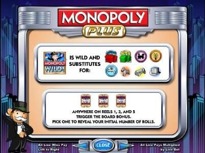 888 Casino featuring the Video Slots Monopoly Plus with a maximum payout of $250,000