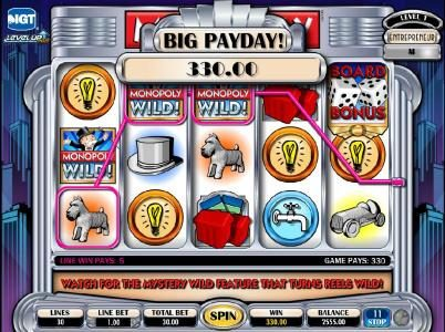 Moon Games featuring the Video Slots Monopoly Plus with a maximum payout of $250,000