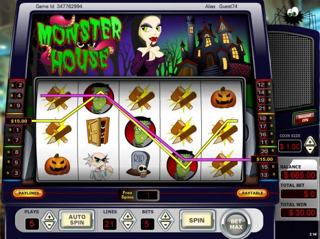 Vegas Crest featuring the Video Slots Monster House with a maximum payout of $15,000