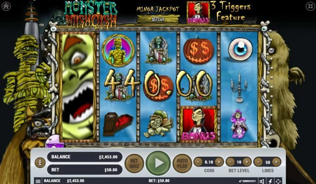 Monster Mash Cash :: stacked wild triggers multiple winning combinations