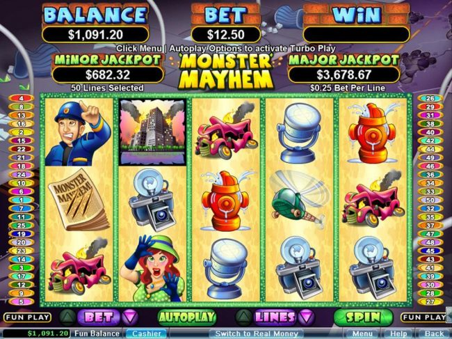 99 Slot Machines featuring the Video Slots Monster Mayhem with a maximum payout of $250,000
