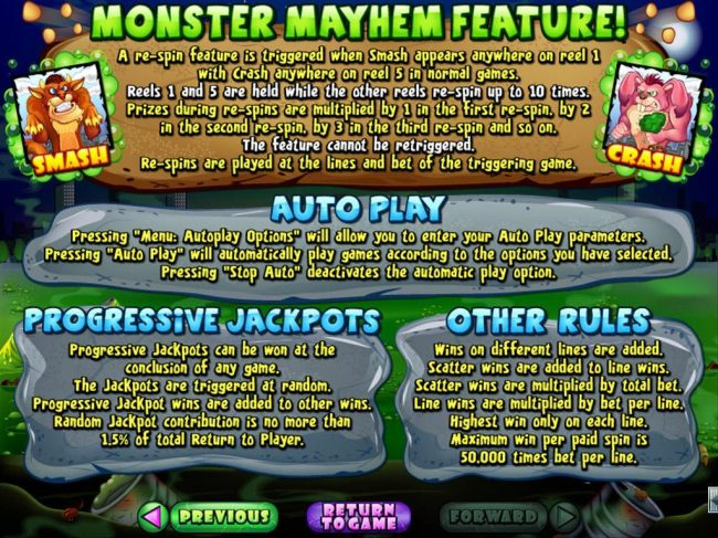 Plenty Jackpots featuring the Video Slots Monster Mayhem with a maximum payout of $250,000