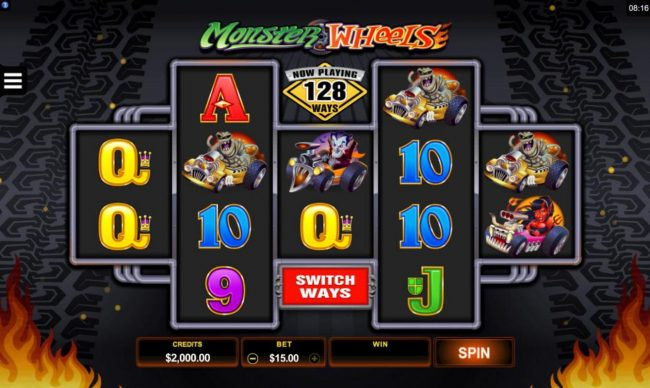Wild Jackpots featuring the Video Slots Monster Wheels with a maximum payout of $115,000