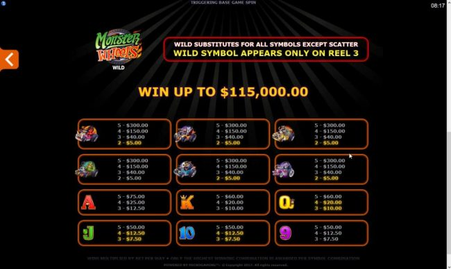 Play slots at Royal Vegas: Royal Vegas featuring the Video Slots Monster Wheels with a maximum payout of $115,000