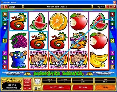Mongoose Casino featuring the Video Slots Monster Mania with a maximum payout of $2,000