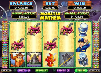 Cherry Jackpot featuring the Video Slots Monster Mayhem with a maximum payout of $250,000