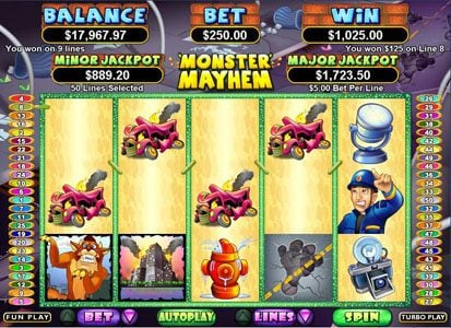 Zar Casino featuring the Video Slots Monster Mayhem with a maximum payout of $250,000