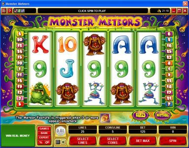 Play slots at Casino Kingdom: Casino Kingdom featuring the Video Slots Monster Meteors with a maximum payout of $5,000