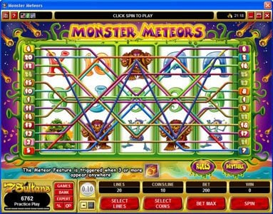 Casino Share featuring the Video Slots Monster Meteors with a maximum payout of $5,000