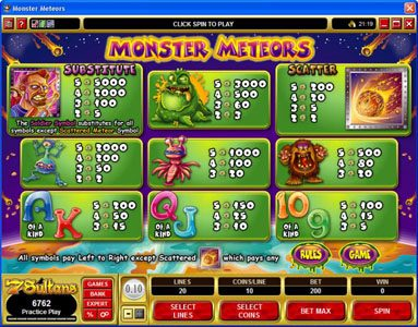 Jetbull featuring the Video Slots Monster Meteors with a maximum payout of $5,000