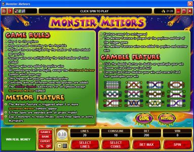 Play slots at Sun Play: Sun Play featuring the Video Slots Monster Meteors with a maximum payout of $5,000