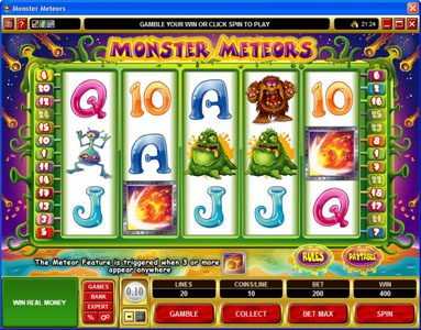 Caribic featuring the Video Slots Monster Meteors with a maximum payout of $5,000