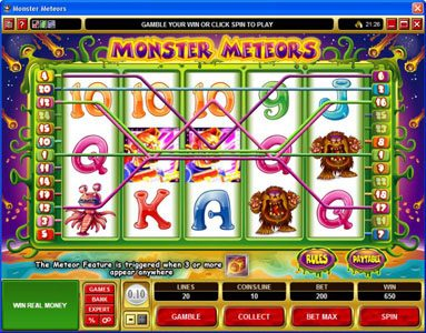 Royal Vegas featuring the Video Slots Monster Meteors with a maximum payout of $5,000
