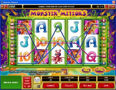 Play slots at Royal Vegas: Royal Vegas featuring the Video Slots Monster Meteors with a maximum payout of $5,000