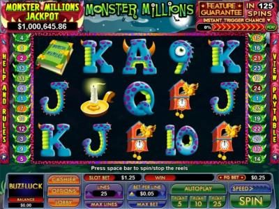 Play slots at Slot Madness: Slot Madness featuring the Video Slots Monster Millions with a maximum payout of $7,500