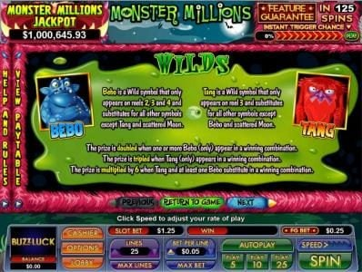 BuzzLuck featuring the Video Slots Monster Millions with a maximum payout of $7,500